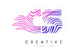 CS C S Zebra Lines Letter Logo Design with Magenta Colors Royalty Free Stock Photo