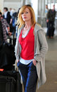 CSI Actress Marg Helgenberger at LAX airport Royalty Free Stock Photo
