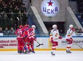 Cska team rejoice yokerit dissapoint moscow march unidentified hockey players of of a point on hockey game vs on russia khl Royalty Free Stock Photos