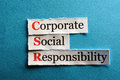 Csr abbreviation corporate social responsibility concept on paper Stock Photography