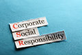 Csr abbreviation corporate social responsibility concept on paper Royalty Free Stock Image