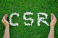 Csr flowers arranged in shape with supporting hands corporate social responsibility Royalty Free Stock Photos