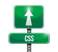 Css road sign illustration over a white background Royalty Free Stock Images