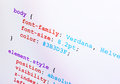 CSS source code closeup diagonal view Stock Photos