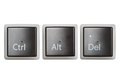 Ctrl, Alt, Del keyboard keys isolated on white Royalty Free Stock Photo