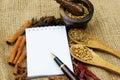 Cuaderno e hierba Fotos de archivo libres de regalías