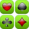 Cuatro botones brillantes con los iconos de juegos Foto de archivo
