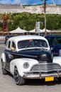 Cuba american oldtimer park on the promenade parked cars Stock Photo
