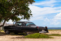 Cuba american oldtimer parking on the beach Stock Photo