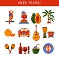 Cuba Havana icons set