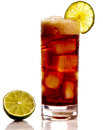 Cuba libra the libre is the spanish pronunciation free is a highball made of cola lime and dark or light rum this highball is Stock Images
