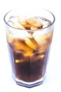 Cuba libre alcoholic drink coke ice non alcoholic drink white background Royalty Free Stock Photos