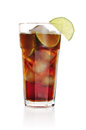 Cuba libre cocktail isolation on a white background Royalty Free Stock Image