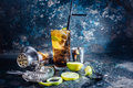 Cuba libre drink, alcoholic beverage with lime and ice served in restaurant and pub Royalty Free Stock Photo