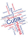 Cuba map and cities words cloud with larger Royalty Free Stock Photos