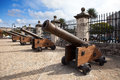 Cuba old havana cannon in castillo de la real fuerza city landscape in a sunny day Stock Image