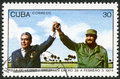 Cuba shows leonid brezhnev and fidel castro circa a stamp printed in devoted visit of i to january Stock Images
