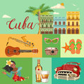 Cuba travel colorful banner concept. Cuban beach resort. Welcome to Cuba. Circle shape. Vector illustration with Cuban culture