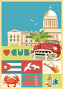 Cuba travel colorful card concept with Cuban flag. Vintage style. Vector illustration with Cuban culture