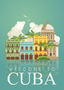 Cuba travel colorful card concept. Vintage style. Vector illustration with Cuban culture