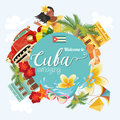 Cuba travel colorful card concept. Welcome to amazing Cuba. Vector illustration with Cuban culture