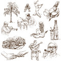 Cuba traveling series collection of an hand drawn illustrations description full sized hand drawn illustrations drawing on white Stock Images