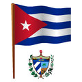 Cuba wavy flag and coat of arms against white background vector art illustration image contains transparency Stock Image