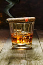 Cuban cigar and glass of brandy Royalty Free Stock Photo