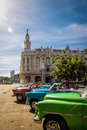 Cuban colorful vintage cars in front of the Gran Teatro - Havana, Cuba Royalty Free Stock Photo