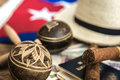 Cuban concept table of some related items Stock Photography