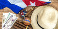 Cuban concept table of some related items Stock Image