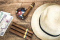 Cuban concept table of some related items Royalty Free Stock Photography