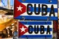 Cuban flag on metal plate