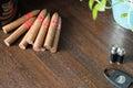 Cuban pyramid cigars on table Royalty Free Stock Photo