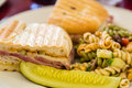 Cuban Sandwich with Pasta Salad and Pickle Royalty Free Stock Photo
