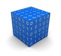 Cube with binary code Royalty Free Stock Image
