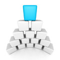 Cube block pyramid with blue top leader Royalty Free Stock Photo
