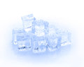 Cube of blue ice isolated on a white background Royalty Free Stock Photo