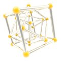 Cube carcass framework composition abstract background yellow plastic and chrome metal isolated on white as scientific Royalty Free Stock Photos