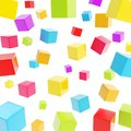 Cube composition over white background as abstract backdrop Royalty Free Stock Image