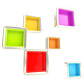 Cube copyspace shelves as abstract background colorful silver isolated on white Stock Image