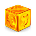 Cube with currency signs Stock Image