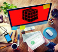 Cube Dice Dimension Logic Mind Thinking Concept Royalty Free Stock Photo