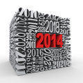 Cube en an 3d 2014 neuf Photo stock