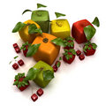 Cube fruits Royalty Free Stock Image
