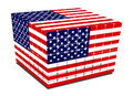 Cube with gaps us flag textured Stock Photo