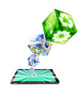Cube industries symbols on tablet pc Royalty Free Stock Image