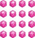 Cube Media Icon Series Set Royalty Free Stock Photo