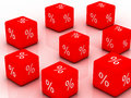 Cube with percent sign d a Royalty Free Stock Photo