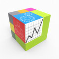 Cube process with drawn graphs as concept Royalty Free Stock Photo